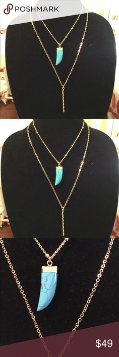 14k gold plated w/natural turquoise necklace New!! 14k gold plated chain w/ real turquoise Jewelry Necklaces