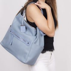 Miss Caprice is a vegan handbag brand designed in Montreal. With it's fun accessories, backpacks and messenger bags, Miss Caprice handbags are the perfect accessory for the girl on the go. Bleu Pale, Charlotte, Vegan Handbags, Baby Blue, Fashion Accessories, Backpacks, Shopping, Tops, Women