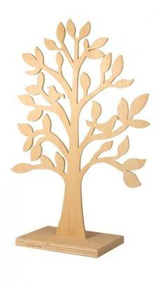 Holz-Baum stehend, natur, mit Vögeln, 50 cm zum basteln - verzieren