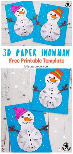Paper Snowman Craft These Paper Snowman Crafts for kids to make are so cute. Who could resist their round pot bellies and big smiles! This easy Winter craft for kids comes with a free paper snowman craft template. Winter Crafts For Kids, Paper Crafts For Kids, Crafts For Kids To Make, Art For Kids, Big Kids, Bastelarbeit Winter, Printable Crafts, Snowman Crafts, Mason Jar Crafts