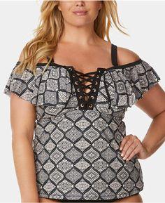 958975c838fd6 Raisins Curve Trendy Plus Size Juniors' Flounce Tankini Top Women Swimsuit Plus  Size Vintage Dresses