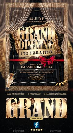 Buy Grand Opening Party Flyer by sparkg on GraphicRiver. Grand Opening Party Flyer It's unique flyers, poster design for your business Advertisement purpose. Poster Design Layout, Flyer Layout, Flyer Design, Grand Opening Invitations, Grand Opening Party, Club Poster, Party Poster, Business Flyer, Business Design