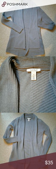 WHBM gray cardigan NWOT Nice long cardigan from WHBM size M. Bought it recently but its too big for me. Like new. White House Black Market Sweaters Cardigans