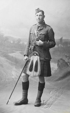 WW I British RPPC A Major in The Gordon Highlanders in Portobello, Edinburgh