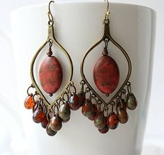 Red Olive Chandelier Earrings,  Red Picasso Bohemian Hoops, Large Boho Dangles, Czech Glass, Gypsy Jewelry