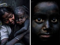A woman holds her child, blackened by carbon dust. His nose bleeds due to infections caused by exposure to dust and pollution during play in the workshop in Korar Ghat by on the outskirts of Dhaka. Many women bring their children along so they can look after them while working.