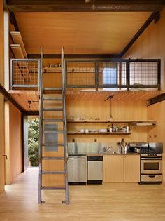 Great Idea for small places and tall ceilings. Loved the open sheves and kitchen cabinets. ~Sol Duc Cabin designed by Olson Kundig and built in Olympic Peninsula, WA, 2011. fantastic, this is what i am considering!