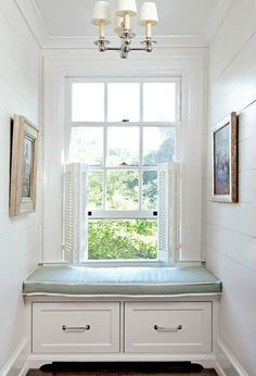 Wonderful use of space under the window- a window seat to while away the hours. #windowseat