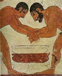 Etruscans partook in physical games and religious rites that may have influenced the later Gladiatorial matches in Rome. Ancient Rome, Ancient Greece, Ancient Art, Ancient History, Art History, Fresco, Mycenaean, Minoan, Carthage