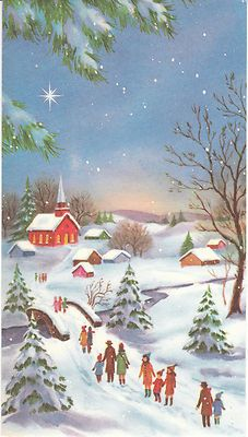 Vintage Christmas Card Families Walk to Church in Snow Unused with Envelope | eBay