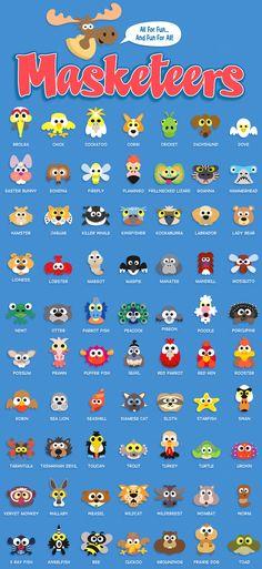 printable masks, animal masks, masks for kids, printable masks for kids,