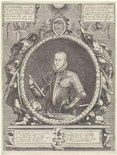 Hendrick Hondius (I) | Portret van Maurits, prins van Oranje, Hendrick Hondius (I), Janus Dousa, 1597 | Portret ten halven lijve van Maurits, prins van Oranje in een ovale lauwerkrans. In de linker- en rechterbovenhoek twee cartouches waaronder cherubijnen, met daarop een tekst van elk zes regels in het Latijn. Het portret rust op een piëdestal, met tevens tekst van twee kolommen van elk vijf regels in het Latijn en een embleem met een devies in het Latijn op een banderol. Boven het portret…