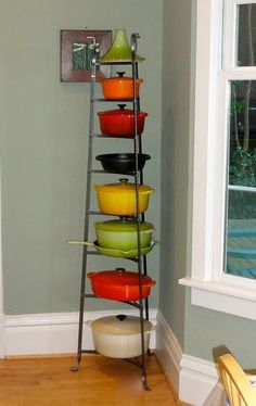 """Enclume Pot Rack for Le Creuset collection.  Right now we have a """"jelly cabinet"""" in the corner of our kitchen.  This would look much more interesting, but we'd have to keep things clean!"""