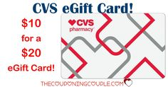 HOT BUY! Get a $20.00 CVS eGift Card for only $10.00! I just love when I can save 50%! Go NOW to see if you can get it!  Click the link below to get all of the details ► http://www.thecouponingcouple.com/cvs-egift-card/ #Coupons #Couponing #CouponCommunity  Visit us at http://www.thecouponingcouple.com for more great posts!