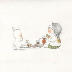 마음이 배고파(I feel empty in my mind) Korean Illustration, Children's Book Illustration, Cute Disney Drawings, Art Journal Pages, Cute Wallpapers, Cute Art, Art Sketches, Graphic Art, Pop Art
