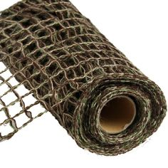 "Camo look Open Weave Jute Netting 8.5"" x 5 Yards Color: Brown, Moss, Natural - great for a camo look Natural Fiber - 100% Jute Wired"