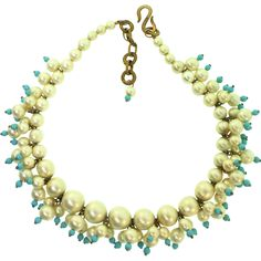 Vintage CHRISTIAN DIOR Glass Fx Pearl Turquoise Bead Cluster Choker NECKLACE France