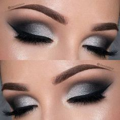 Dramatic Black and Silver Prom Eye Makeup Look