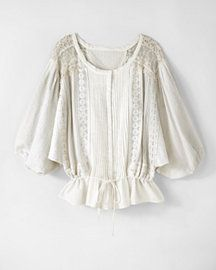 Eyelet Blouson Top with Lace Trim, $79, Newport News.  So gal.  So Liz Lisa without the 30 dollar ship charge...