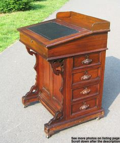 19th Century Walnut Davenport Desk W 4 Side Drawers Leather Writing Slope