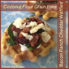 Grain and Gluten Free Bacon Ranch Cheddar Waffles - made with coconut flour and a secret ingredient that makes them crispy!  Leave out the cheese and use dairy free ranch, and they're paleo too!