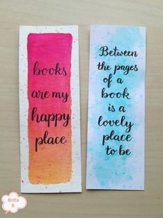Bibliophile Bookmarks (Handlettering & Watercolor) by Britta B. Bibliophile Bookmarks (Handlettering & Watercolor) by Britta B. Bookmarks Quotes, Bookmarks For Books, Creative Bookmarks, Cute Bookmarks, Bookmark Craft, Handmade Bookmarks, Corner Bookmarks, Bookmark Template, Paper Bookmarks