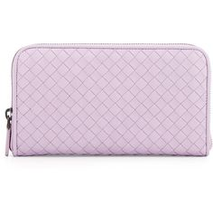 Bottega Veneta Woven Leather Continental Wallet (€580) ❤ liked on Polyvore featuring bags, wallets, fillers, purses, accessories, front pocket wallet, pink duffle bag, lambskin wallet, shoulder bags and woven leather bag