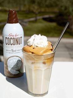 We're hopping on the whipped coffee trend and of course, topping it with Gay Lea Coconut Whipped Topping. Have you tried this viral drink? Coconut Cream Coffee, Coconut Whipped Cream, Whipped Topping, Yummy Drinks, Gay, Ice Cream, Favorite Recipes, Cooking, Desserts