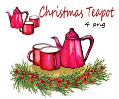 Christmas clipart tea pot clipart Christmas tea pot