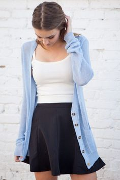 Casual look | Black skirt, white cami and pastel blue cardigan