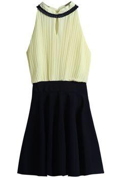 Vestido gasa plisado sin mangas-Amarillo y negro EUR18.62 www.sheinside.com