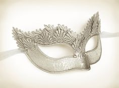Pure Silver Lace Masquerade Mask With Brocade Fabric by SOFFITTA