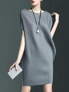 Shop Mini Dresses - Gray Bateau/boat Neck Ribbed Sleeveless Plain Mini Dress online. Discover unique designers fashion at StyleWe.com.