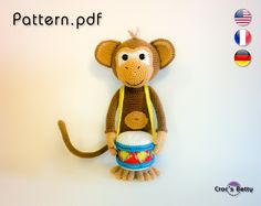 Pattern Drumkey the Monkey от CrocsBetty на Etsy