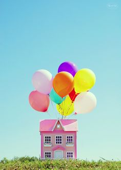 Once in my lifetime I've got to fly away with a pink house which is hanging on balloons.