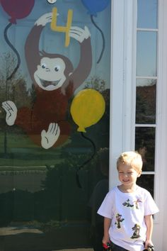 """Genius! Tape a picture to one side of your sliding glass door as a template. Then trace and paint with cheap acrylic paint. Once done, remove the """"template."""""""