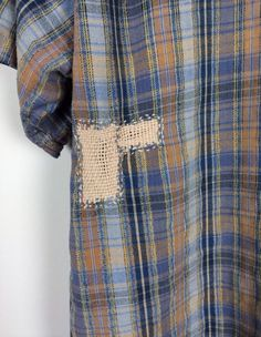 Check fabric | Plaid | Repair stitch detail | Darning | Mending