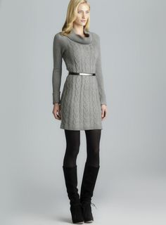 Cowl Neck Belted Cable Knit Sweater Dress