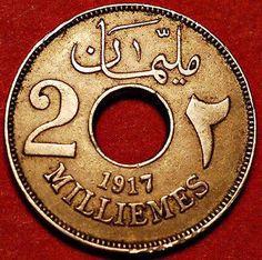 عملة من فئة ٢ مليم تعود إلى عام ١٩١٧م.