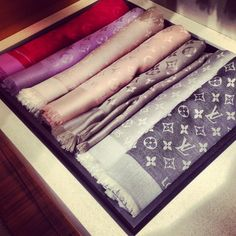 Louis Vuitton shawls. Wish that was my drawer.                                                                                                                                                      More