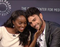 Jack Falahee and Aja Naomi King. Interacial Love, Interacial Couples, Jack Falahee, Movie Couples, Cute Couples, Netflix, Famous In Love, Mixed Couples, Tv Show Casting