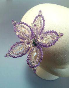 Hair Pin Hair Jewelry Purple Flower Hair Pin by QueXopaPanama