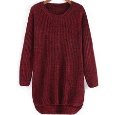 Round Neck Dip Hem Knit Sweater