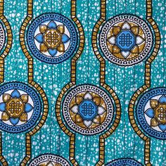 Blue African Wax print Julius Holland fabric BY THE by ChilliPeppa