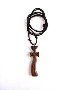 Wood Jewelry Hand Carved Cross Wood Cross Wooden by GatewayAlpha, $17.95