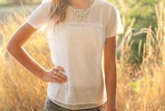 Anthropologie Inspired Lace Chiffon Blouse
