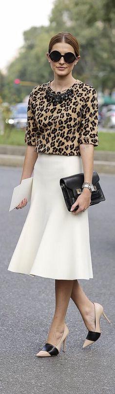 Winter White midi skirt, Leopard print, + color block pumps.