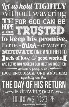 Hebrews 10:23-25 (NLT)