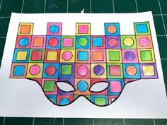 Masque Vasarely - Le tour de mes idées Mondrian, Keith Haring, Vasarely, Miro, Ecole Art, Tour, Visual Art Lessons, Carnival, Color Pencil Picture