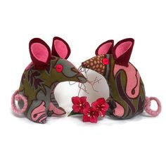 Retro mouse  vintage fabric 70s  Pink  green and by WittyDawnUK